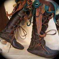 Knee High Journeying Moccasins in Dark Chocolate by TreadLightGear