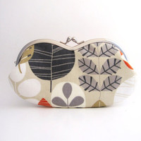 Frame sunglasses case/ Clutch Purse - leaves on light gray