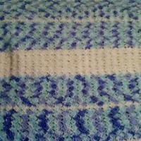 Baby Afghan in White, Periwinkle, and Green