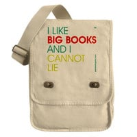 I Like Big Books And I Cannot Lie - Canvas Field Bag Tote - FREE SHIPPING