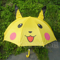 Free Shipping Cartoon Yellow Pikachu Sun Rain Umbrella Safely For Children
