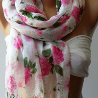 ON SALE Elegant and soft scarf - Cotton Scarf...Vintage Roses