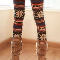 OASAP - Chic Stripes with Snowflake Leggings - Street Fashion Store