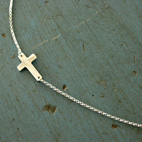 Sideways Cross Necklace Sterling Silver Designer Jewelry Celebrity Inspired Bridesmaid gifts
