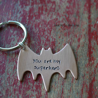 personalized hand stamped superhero copper batman keychain