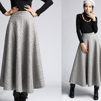 Plaid Wool skirt winter maxi skirt (412)