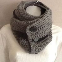 Gray and Black Buttoned Cowl Scarf- Chunky Cowl, Mens Scarf, Womens Scarf, Winter Scarf