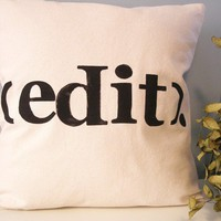 $44.00 Modern Hand Stamped Typography Pillow Edit by JoshuaByOak on Etsy