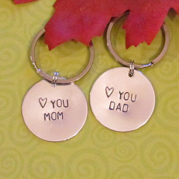 Wedding Gifts Between Parents : MOM DAD Keychain -- Christmas gift - Wedding Gift-- Just Because