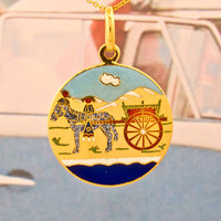 Donkey & Carriage Gold Circle Pendant | Shop | Erstwhile Jewelry Co.