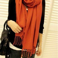 Fashion Orange Cashmere Long Tassel Shawl wholesale