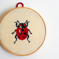 Pretty ladybug. Wall decor. Hand's embroidered bug in wooden hoop. Home decor. Kids room decor. -10% discount code oct2012