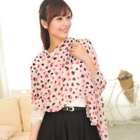 Pink Hearts Long Chiffon Shawl Wraps wholesale