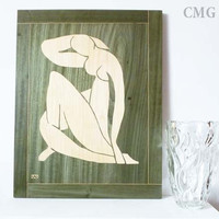 Wood Inlay Art Work  - Woman  - Marquetry - Art Design - Handmade Woodwork - Home Decor