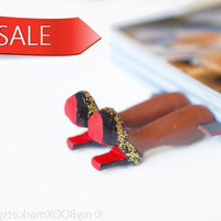 Sale. Bookmark. Louboutin shoes, chocolate brown skin. high fashion gift. Desk accessory for her. Brown-skinny SALE