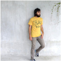 Mens tshirt - fall fashion - S-XL - industrial camel graphic on American Apparel heather gold t shirt - THE DESERTER