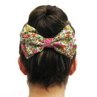 BIG Floral BOW on a metal hair clip. Perfect for under a hair bun or for a nice ponytail