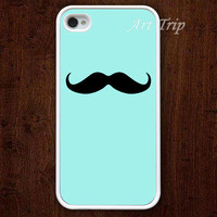 iPhone 4 Case, iphone 4s case -- mustache iPhone 4 Case,mint green graphic iphone 4 case