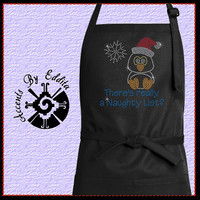 Rhinestone Holiday Penguin Naughty List Chefs Apron with Sparkly Santa Hat and Snowflake Bling perfect for Christmas Holidays