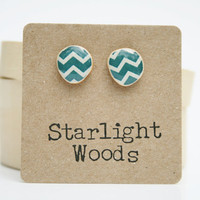 Chevron post earrings , Deep sea blue  studs , resin jewelry , stud earrings , fall fashion , wood earrings , fall jewelry , eco friendly ,