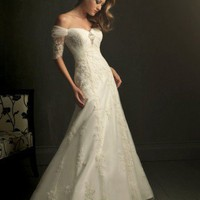 Cheap wedding dresses_wedding gowns Elegant Sexy Off-the-shoulder Short Sleeves Lace Wedding Dress Cheap wedding dresses_wedding gowns