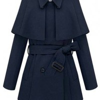 Honorable Society Belted Capelet Trench Coat in Navy | Sincerely Sweet Boutique