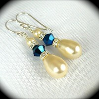 Swarovski Pearls Sapphire Crystal and Rhinestone by AzureTreasures
