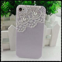 Lilac Lace Mobile Phone Cell Phone Case Cover Shell Skin for iPhone4 4G 4S