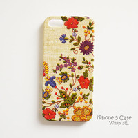 iPhone 5 case - Vintage needle work print  /  Flowers iPhone 5 case/ iPhone case / Decoupage iphone case