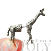 3D Fake Gauge Realistic Giraffe Animal Stud Earrings in Silver by Dotoly