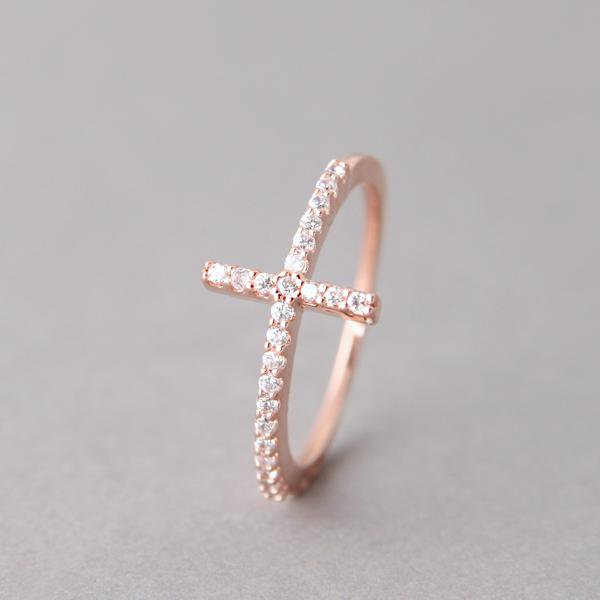sterling silver sideways cross ring from zibbet