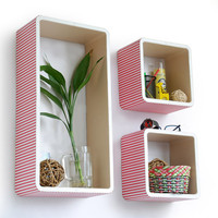Peach & White Stripe Rectangle Leather Wall Shelf / Bookshelf / Floating Shelf (Set of 3) TRI-WS139-REC