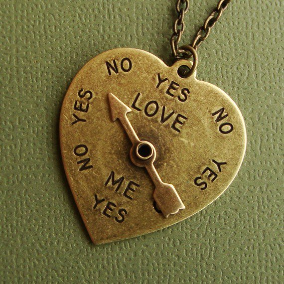 Love Meter Spinner in Antique Brass Heart by SimplyChacha on Etsy