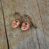 Rainy Day Earrings with Umbrella Design Stamp, Copper with Niobium Hypoallergenic Ear Wires for Sensitive Ears