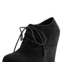 Diva Lounge Edith25 Black Laced Platform Wedge Booties shop Boots at MakeMeChic.com
