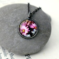 Petite Polaroid Floral Photo Pendant Necklace  by jerseymaids