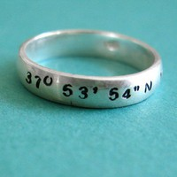 Custom GPS Sterling Ring | Spiffing Jewelry