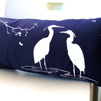 Navy  Blue Egret Lovers in the Swamp Rectangle Pillow