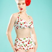 Vintage Pinup High Waisted Short with Matching Sarong in White Cherry from Pinup Couture | Pinup Girl Clothing