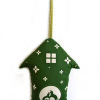 Forest Green Print Partridge Birdhouse HOLIDAY ORNAMENT