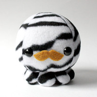 Zebra Octopus Plush Toy with Mustache