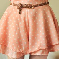 Quartet Whimsy Polka Dot Print Flounced Shorts in Peachy Pink | Sincerely Sweet Boutique