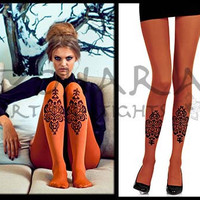 Paisley design tights (F101-OB)