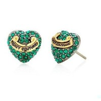 Authentic Juicy Couture Green Pave Heart Stud Earrings