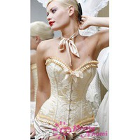 Cheaper Gorgeous Strapless Jacquard Satin Corset for 49.98 in Corsets