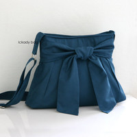 10% off - Teal Blue Bow Bag / Small Purse / Day bag / Messenger Bag / Cross body Bag / Everyday Bag with Half Bow