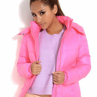 Phosphor Long Sleeve Down Coat Pink$74.00