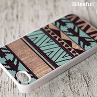 iphone 4 case - geometric art on wood print - mint