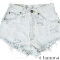 "Hanmattan ""PLAINO"" vintage waisted denim shorts ALL SIZES blue white distressed frayed jeans"