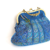 Nuno Felted bridal purse, clutch, nuno felted turquoise blue bag